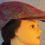Flat Cap in Turquoise Green Dots on Pink Batik - right
