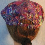 Flat Cap in Turquoise Red Flowers on Purple - back