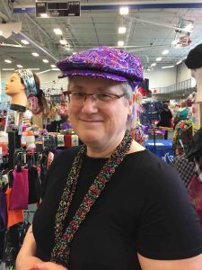 Flat Cap in Purple Brocade 1st Customer