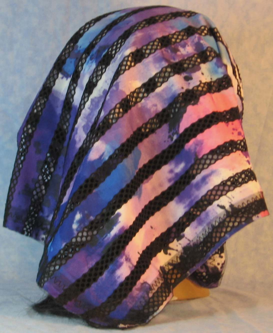 HeadWrap-Black Purple Stripe Loops-Scarf-back