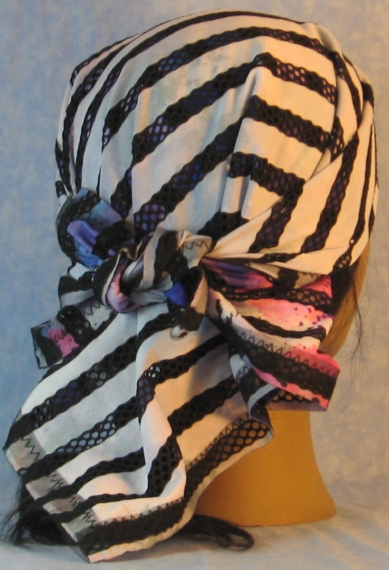 HeadWrap-Black Purple Stripe Loops White-Wrap-back