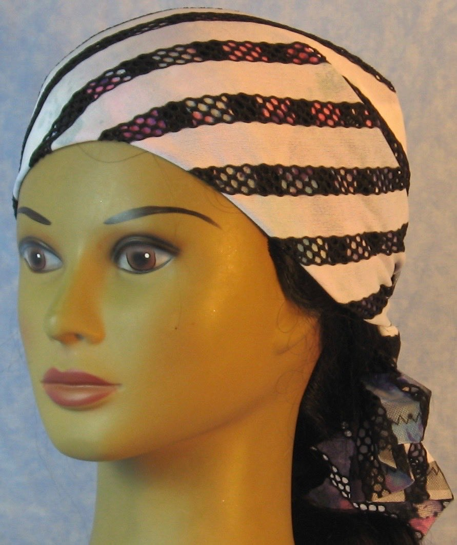 HeadWrap-Black Purple Stripe Loops White-Wrap-front