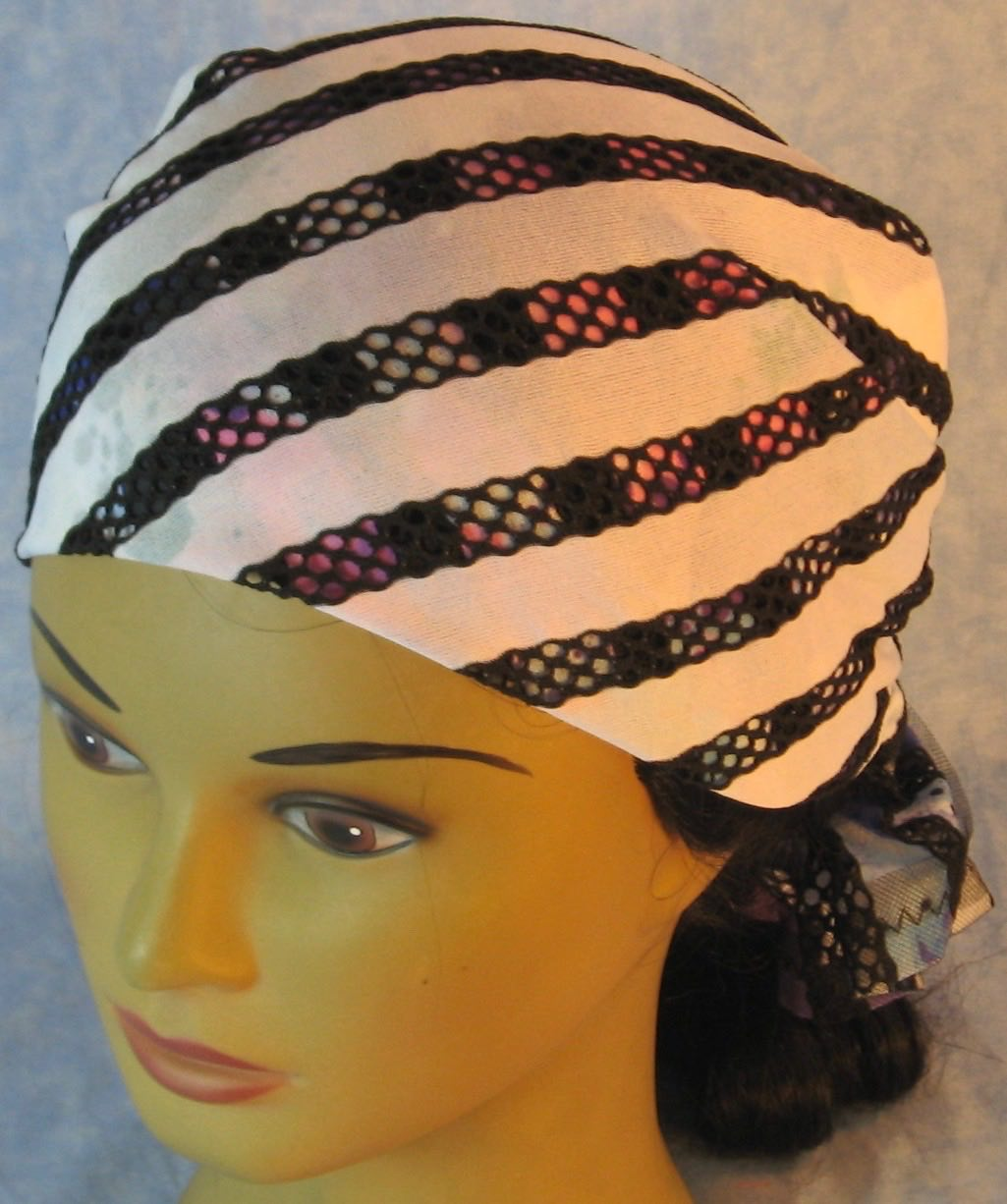 HeadWrap-Black Purple Stripe Loops White-Wrap-fronttop
