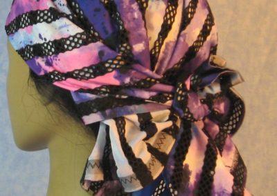 Head Wrap in Black Purple Stripe Loops Purple Side - Wrap - back