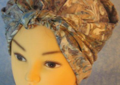 Head Wrap in Blue Tan Scroll Batik - Riveter - front top