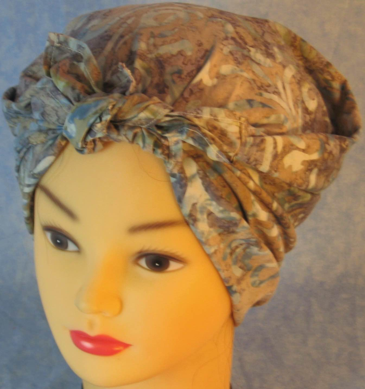 HeadWrap-Blue Tan Scroll Batik-Riveter-fronttop