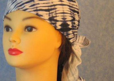 Head Wrap in Blue White Tie Dyed Knit With White Tulle - Wrap - front