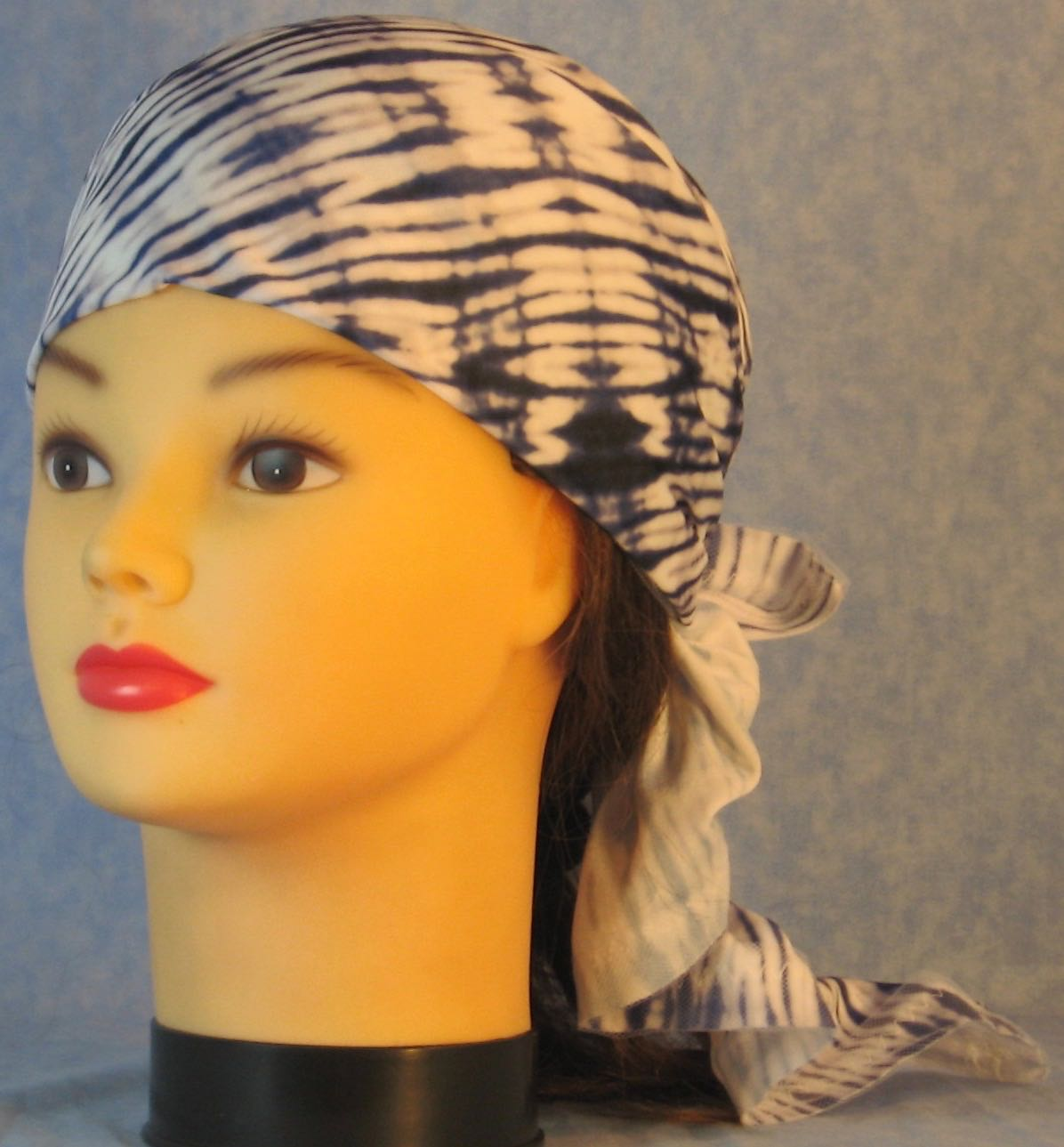 HeadWrap-Blue White Tie Dyed With White Tulle-Wrap-front
