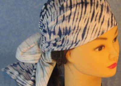 Head Wrap in Blue White Tie Dyed Knit With White Tulle - Wrap - front top