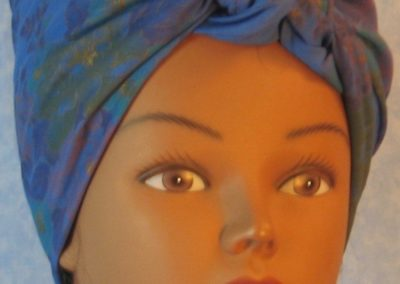 Head Wrap in Blue with Purple Yellow Flower Bouquet - Riveter - front