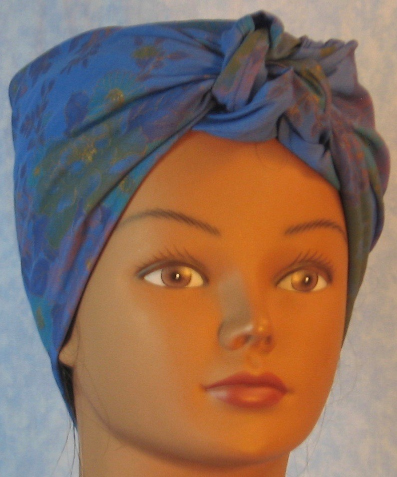 HeadWrap-Blue with Purple Yellow Flower Bouquet-Riveter-front