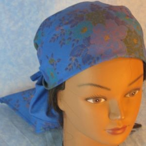 Head Wrap in Blue with Purple Yellow Flower Bouquet - Wrap - front top