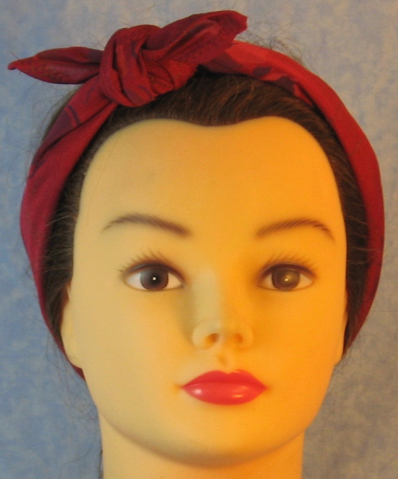 HeadWrap-Burgundy Pansies Crepe-Headband-front