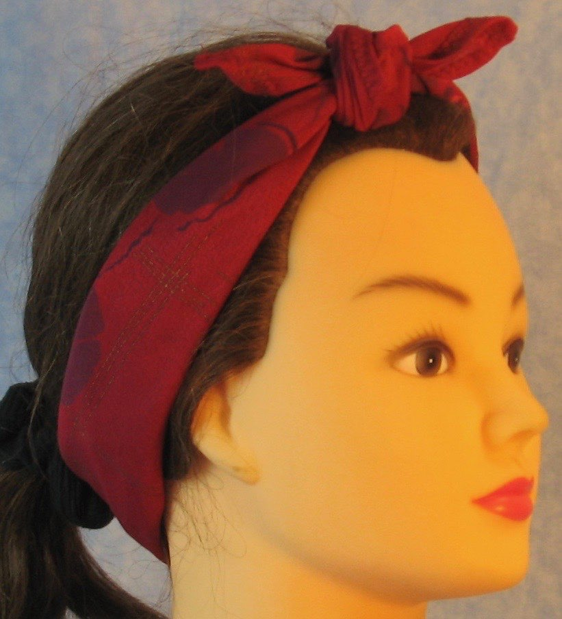 HeadWrap-Burgundy Pansies Crepe-Headband-right
