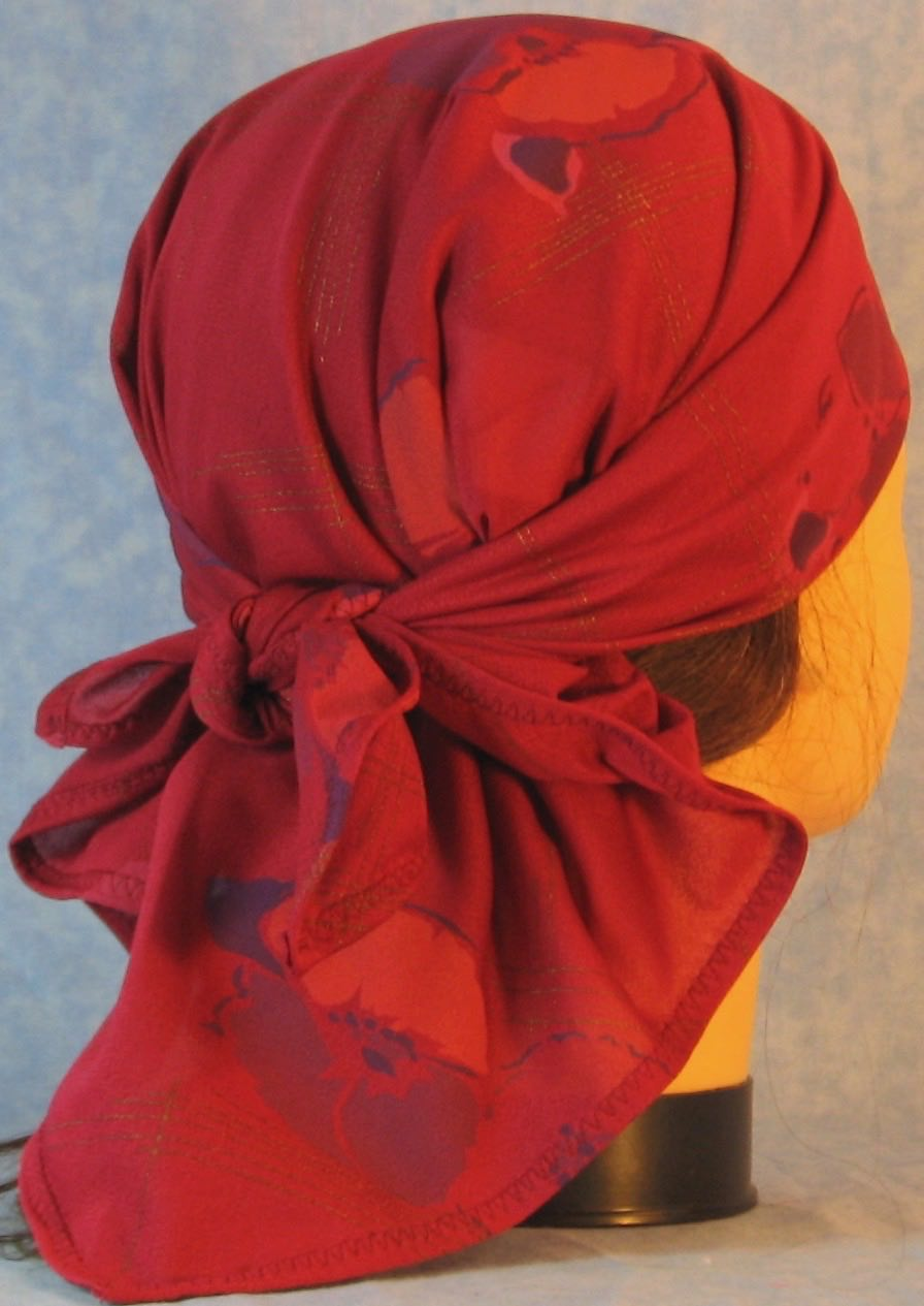 HeadWrap-Burgundy Pansies Crepe-Wrap-back
