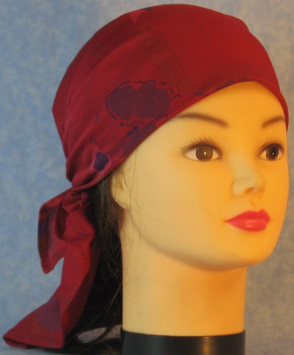 HeadWrap-Burgundy Pansies Crepe-Wrap-front