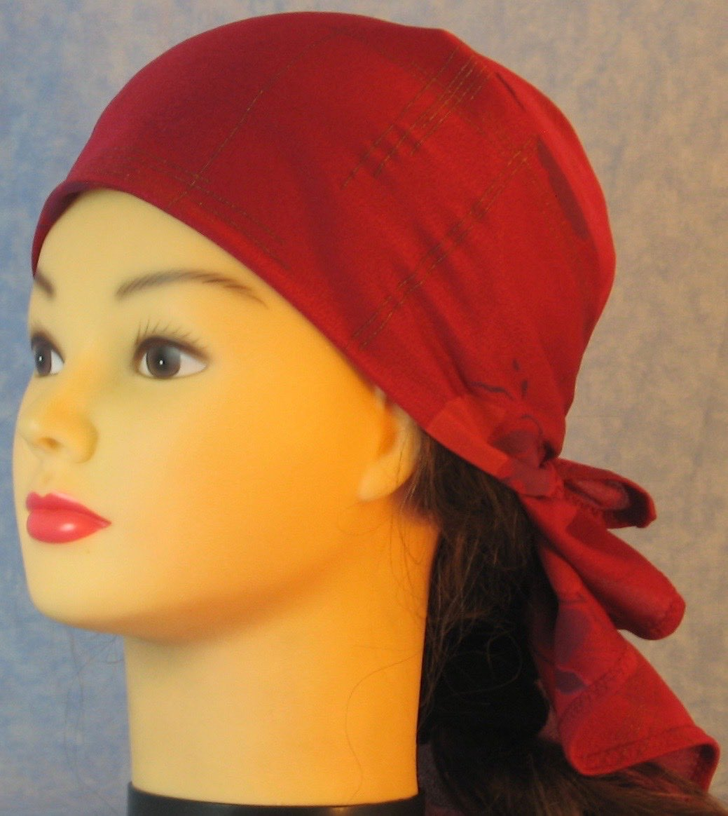 HeadWrap-Burgundy Pansies Crepe-Wrap-left
