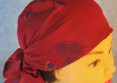 Head Wrap in Burgundy Pansies Crepe - Wrap - right top