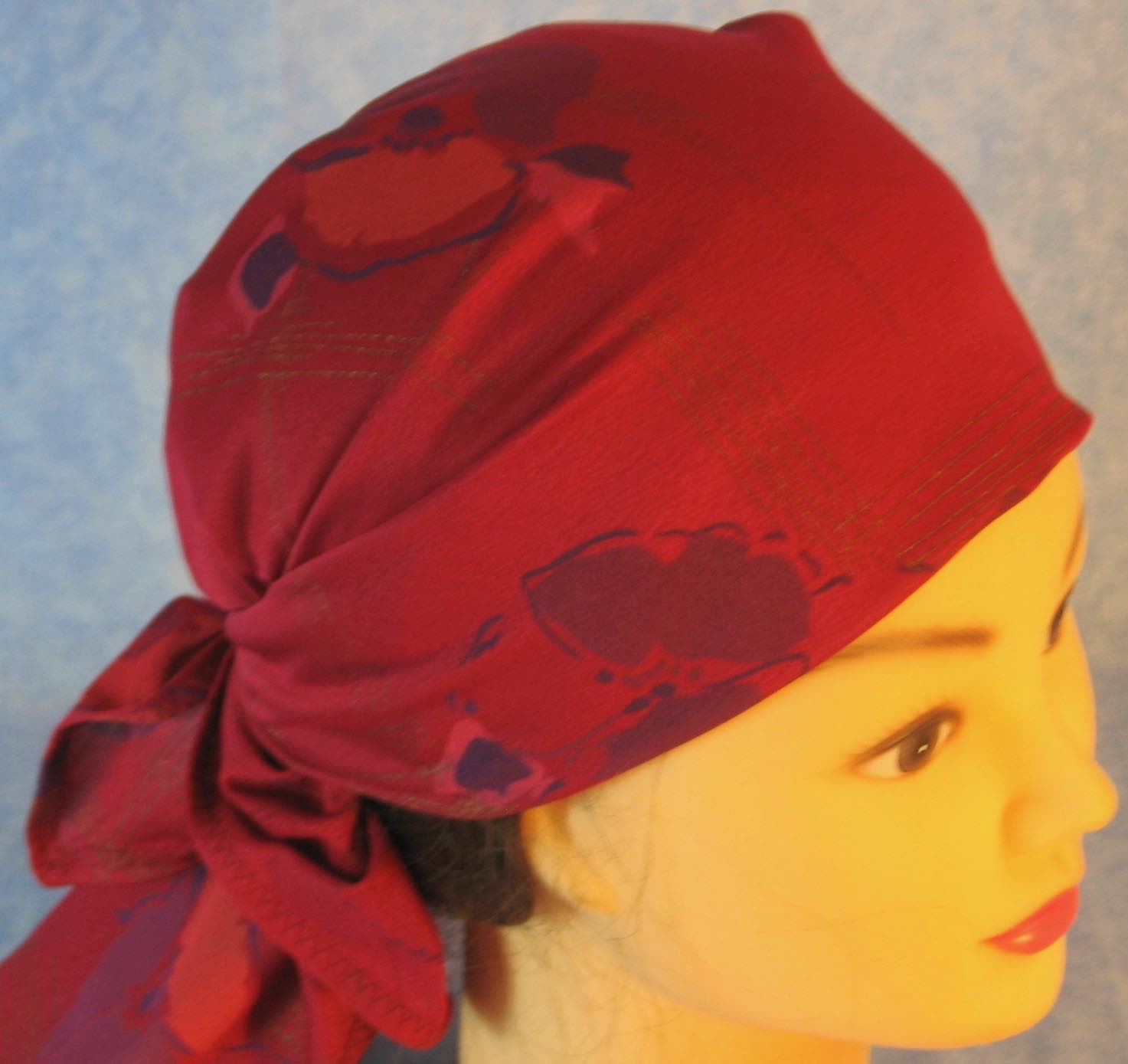 HeadWrap-Burgundy Pansies Crepe-Wrap-righttop