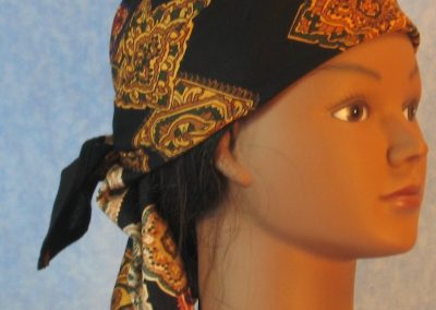 Head Wrap in Gold Medallions on Black - Wrap - right