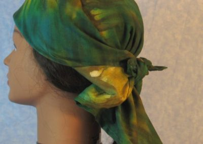 Head Wrap in Green Yellow Dyed - Wrap - left