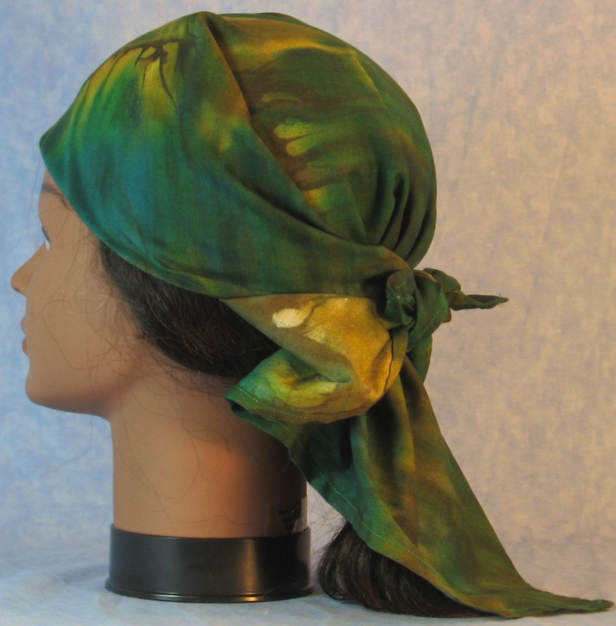 HeadWrap-Green Yellow Dyed-Wrap-left