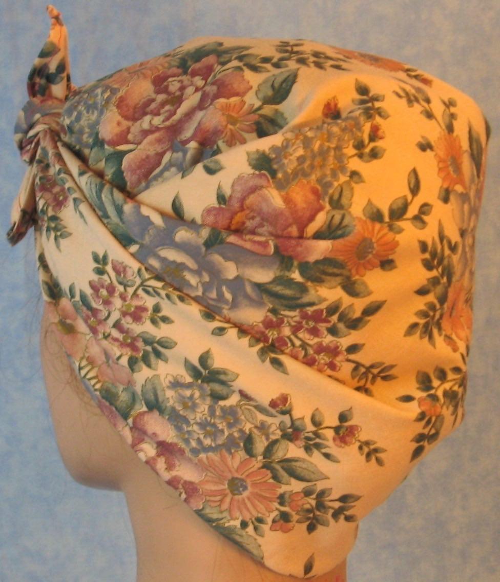 HeadWrap-Pink Blue Flower Bouquet on Pink-Riveter-back