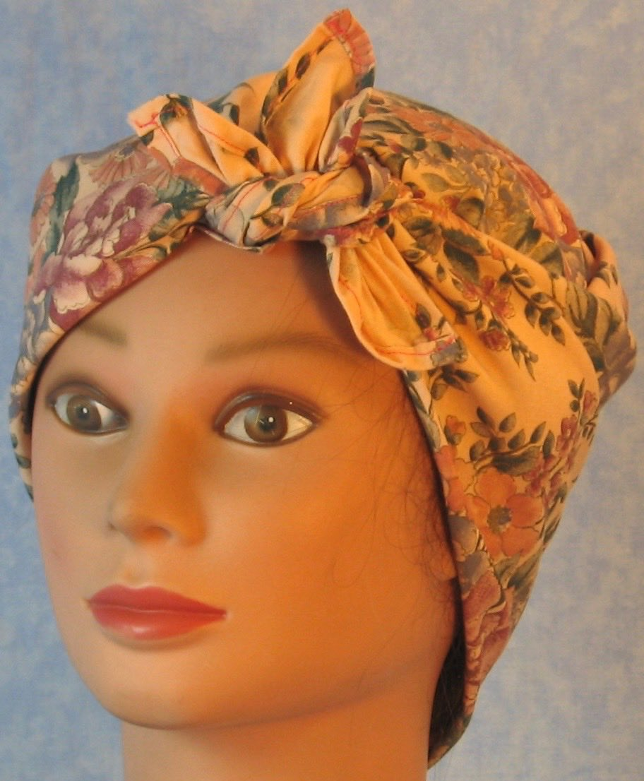HeadWrap-Pink Blue Flower Bouquet on Pink-Riveter-front