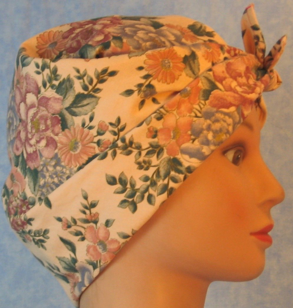 HeadWrap-Pink Blue Flower Bouquet on Pink-Riveter-right