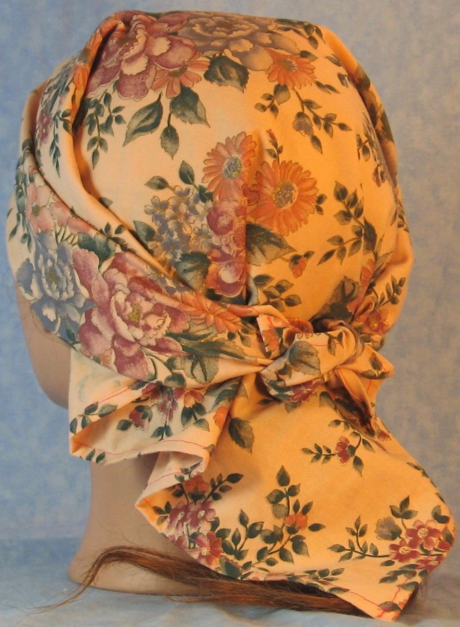 HeadWrap-Pink Blue Flower Bouquet on Pink-Wrap-back