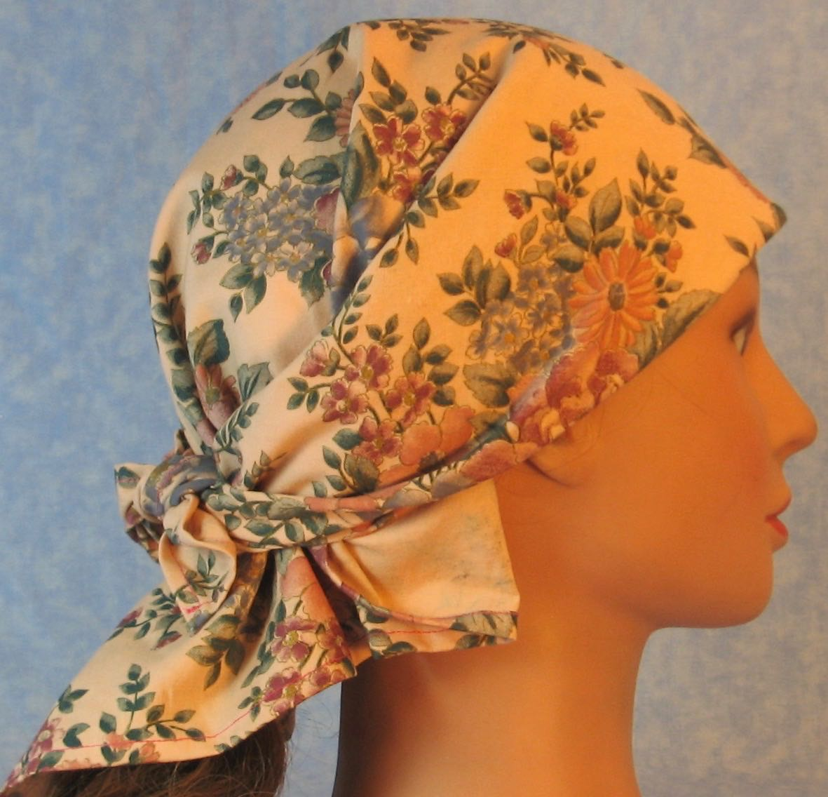 HeadWrap-Pink Blue Flower Bouquet on Pink-Wrap-right