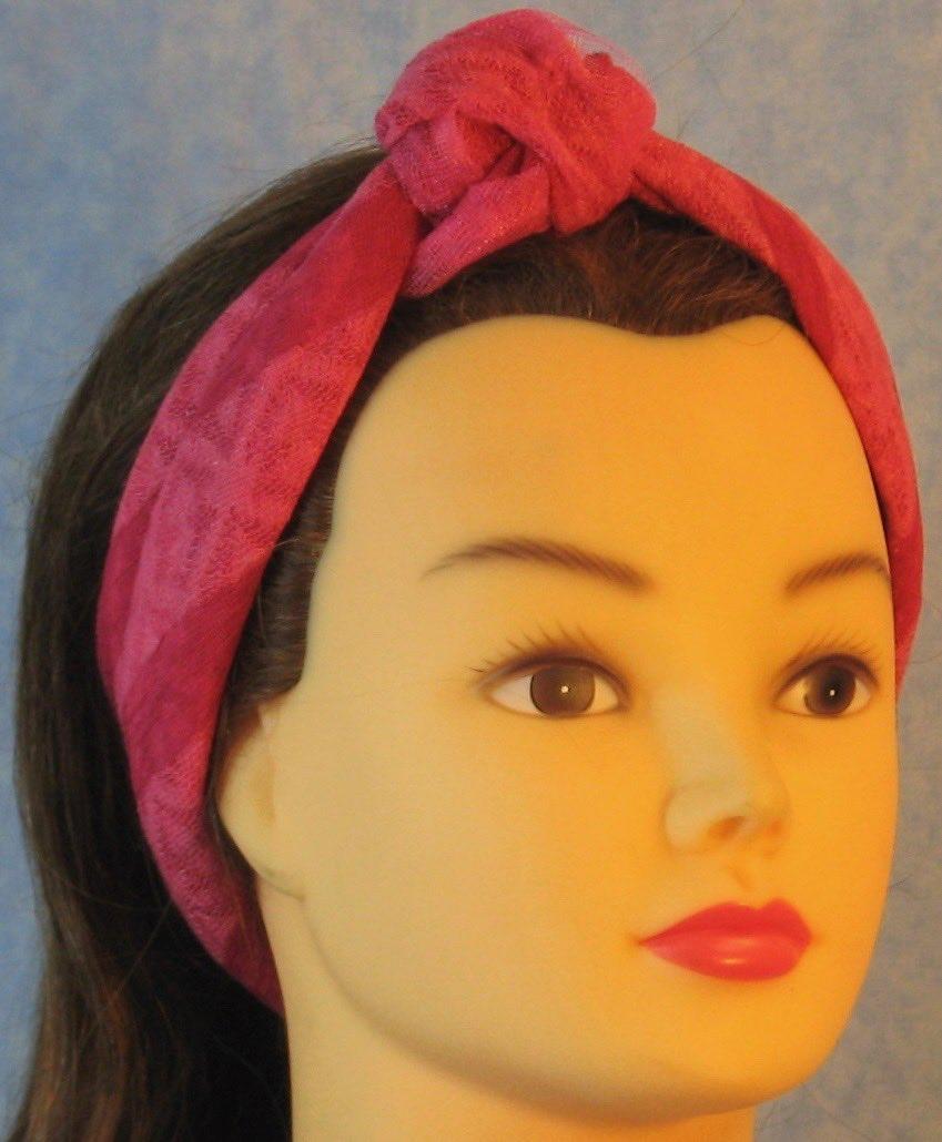 HeadWrap-Pink Stripe Burnout-Headband-rightfront