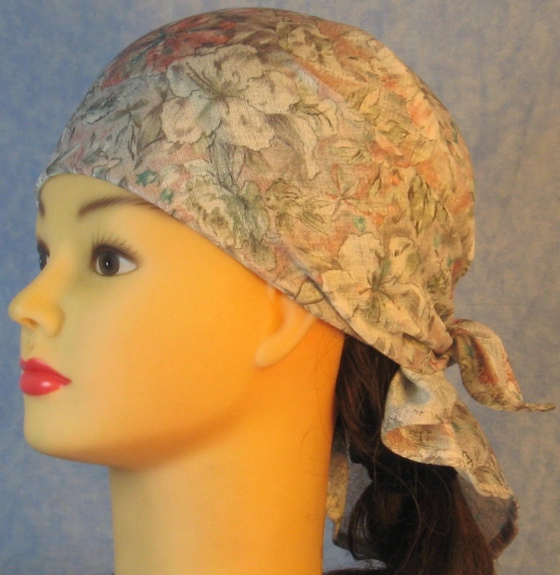 HeadWrap-Pink White Big Flowers on Gray-Wrap-left