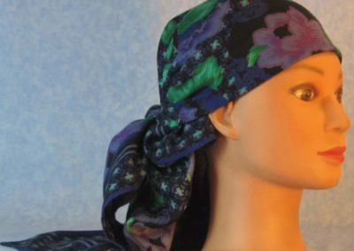 Head Wrap in Purple Flowers Lattice on Black - Wrap - right