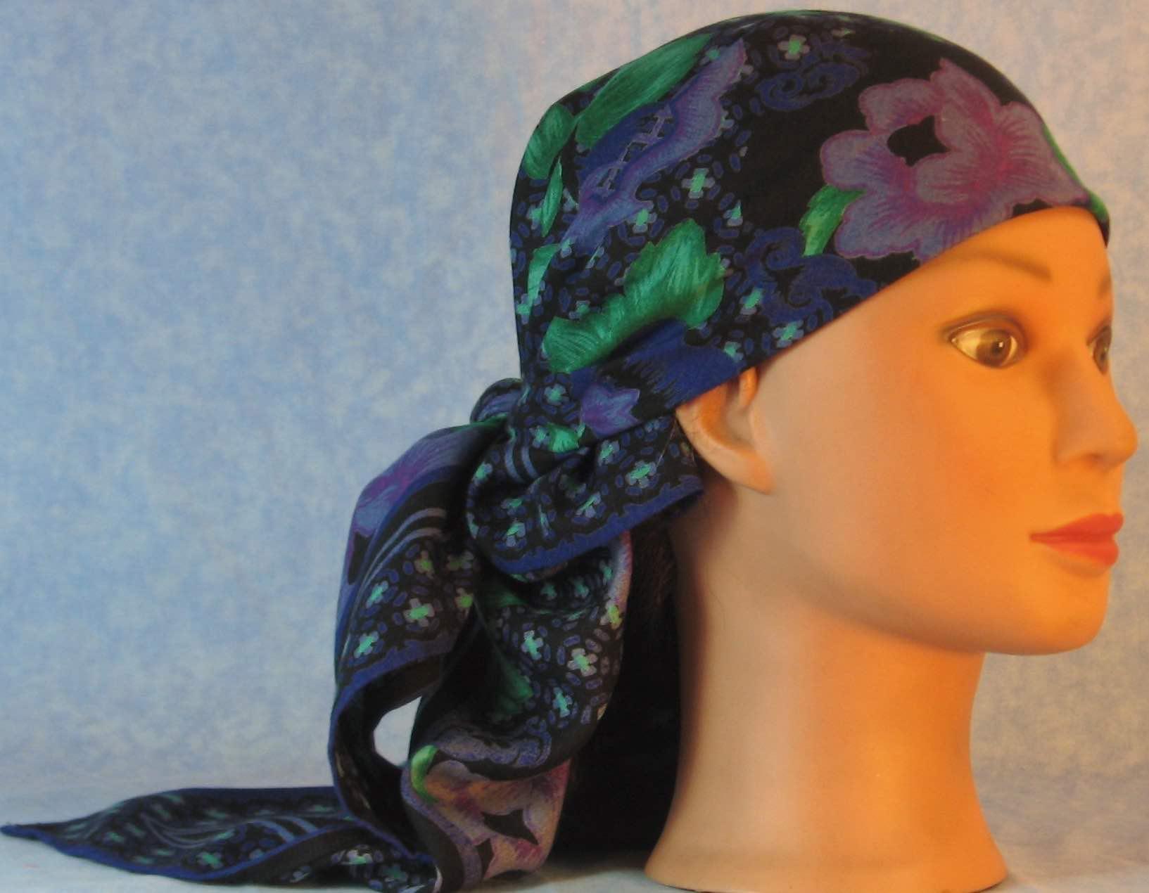 HeadWrap-Purple Flowers Lattice on Black-Wrap-right