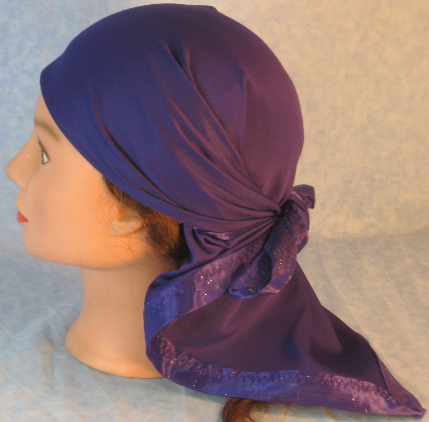 HeadWrap-Purple With Organdy-Wrap-back