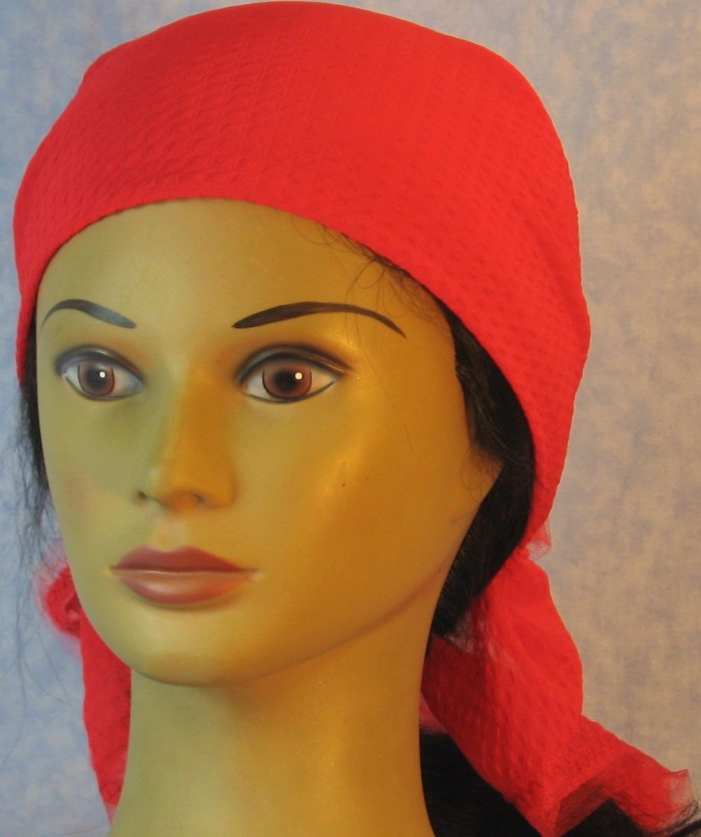 HeadWrap-Red Diamond Weave–Wrap-front