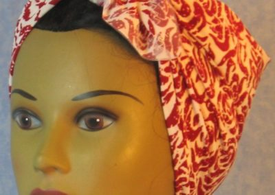 Head Wrap in Red Roses on White - Riveter - front left