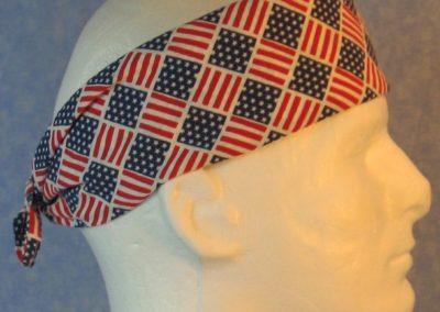 Head Wrap - Red White Blue Flag Lattice - Band - guy side