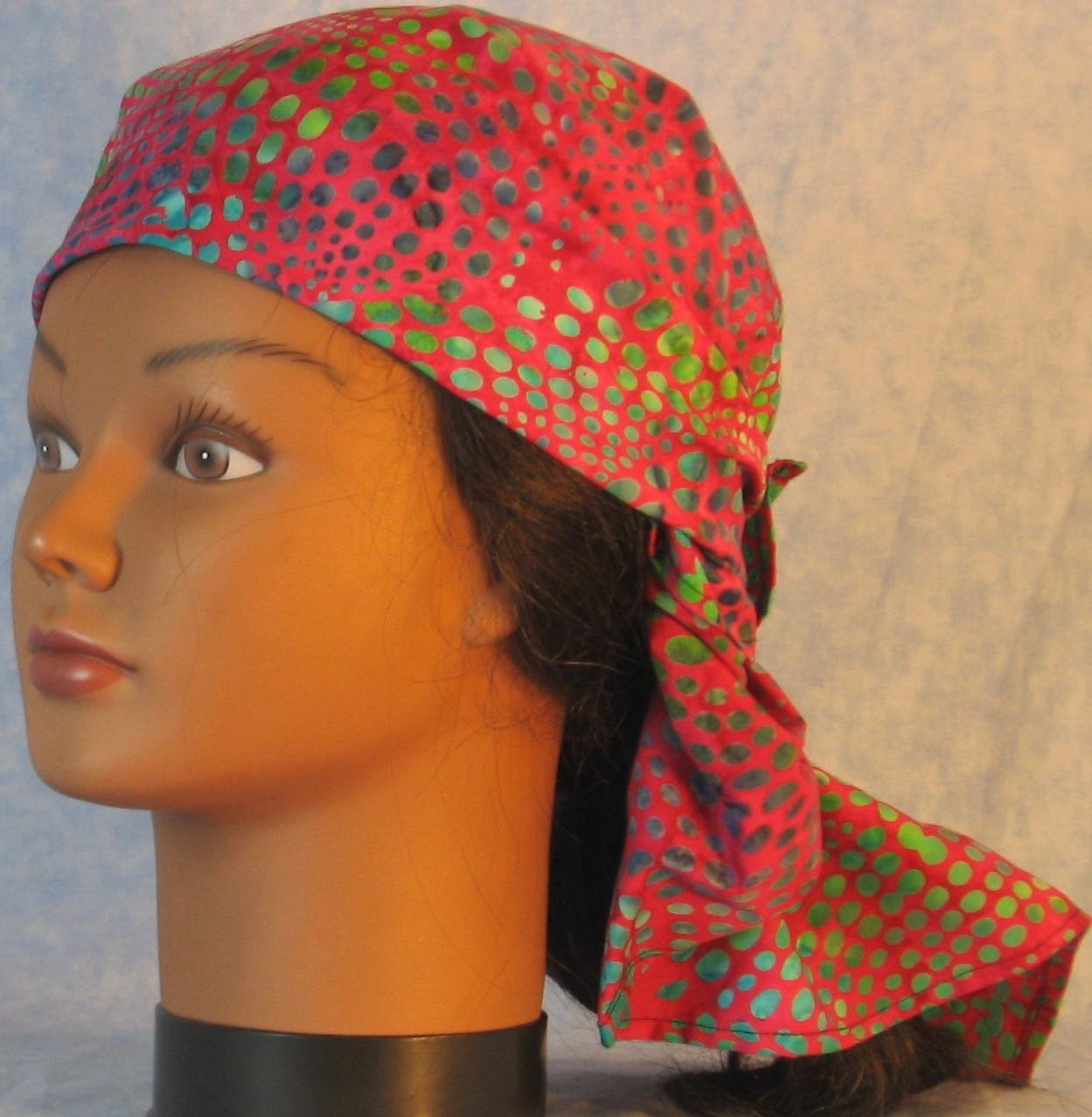 HeadWrap-Turquoise Green Dots on Pink Batik-Wrap-left