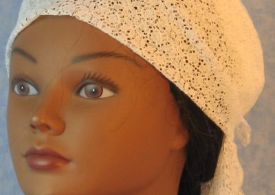 Head Wrap in White Flower Circle Lace - Wrap - front
