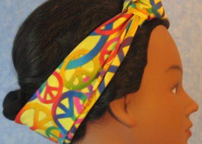 Head Wrap in Yellow Peace - Headband - side