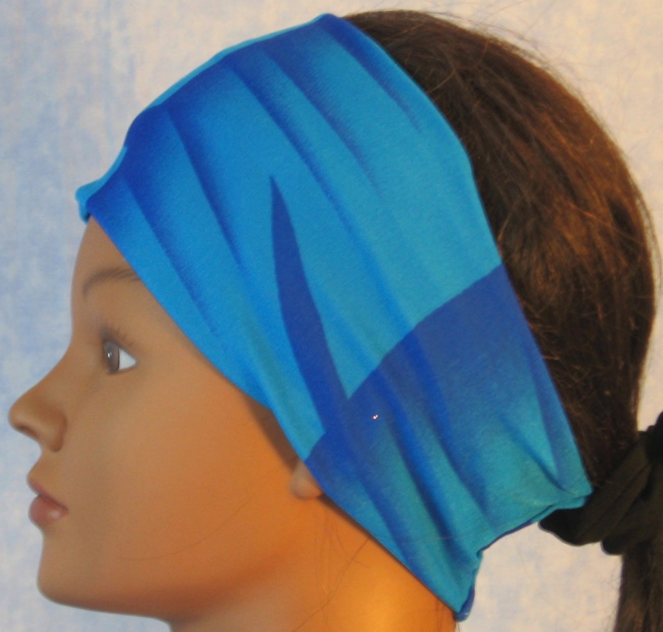 Headband-Aqua Blue Flames-left