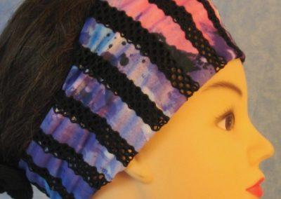 Headband - Black Purple Stripe Loops - right