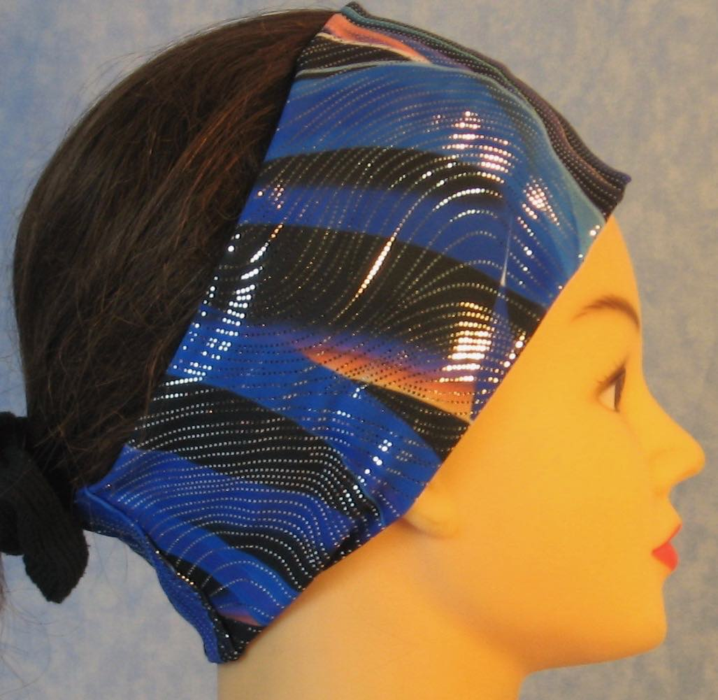 Headband-Blue Black Waves With Silver Performance Knit-Adult M