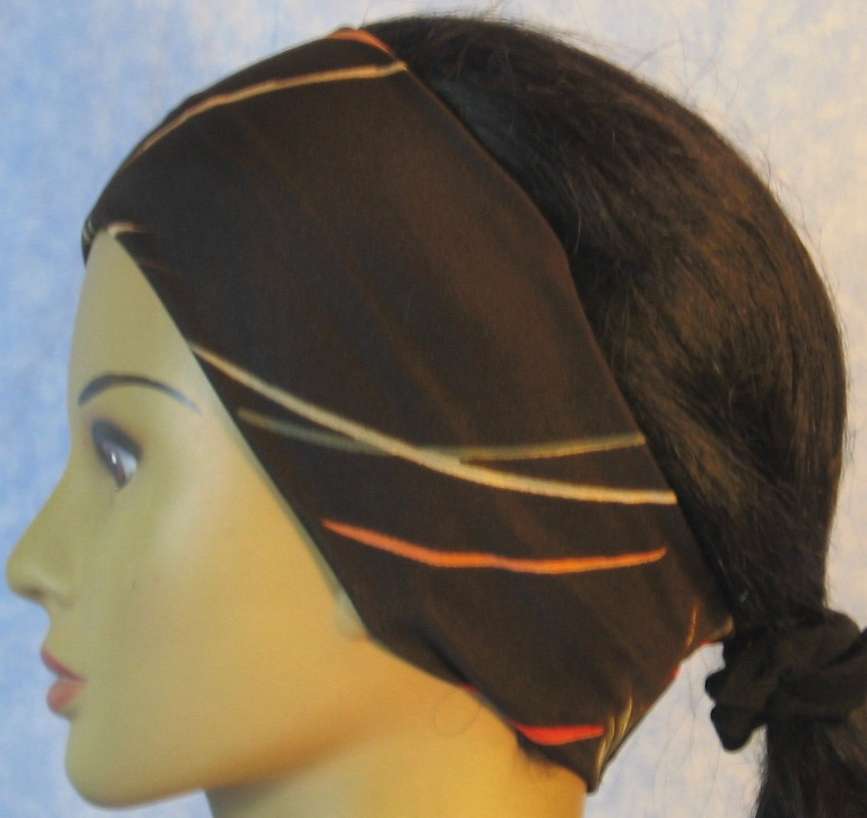 Headband-Brown With Gray Tan Brush Strokes-left