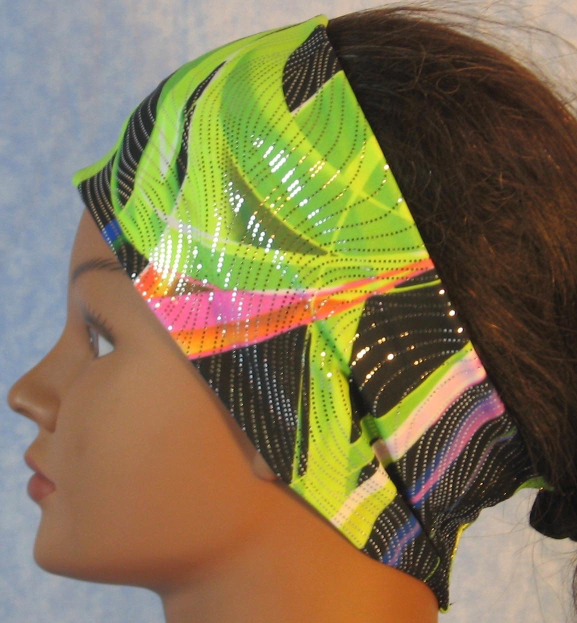 Headband-Green Black Waves With Silver-left