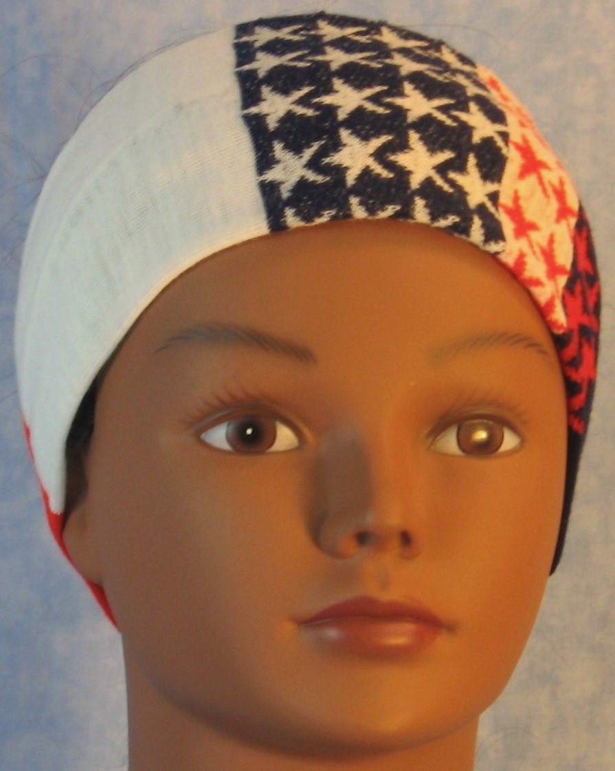 Headband-Red White Blue Stripe And Stars Knit-Youth L-XL
