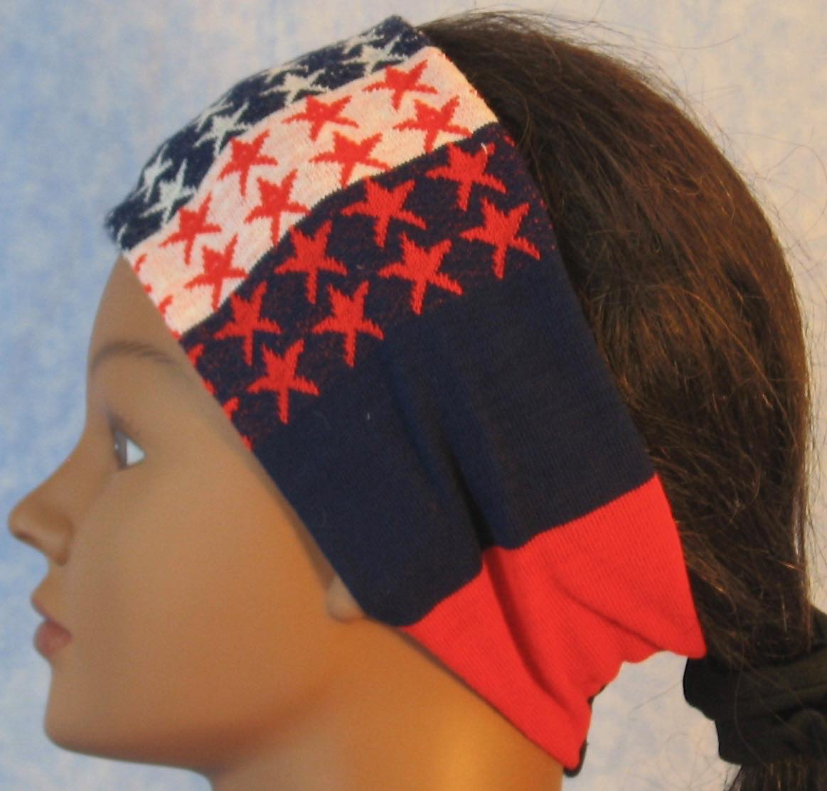 Headband-Red White Blue Stripe And Stars-left