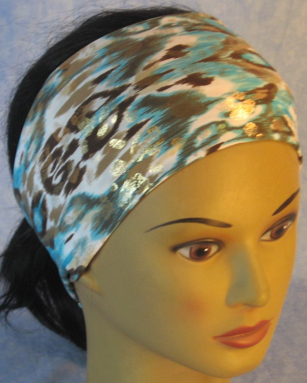 Headband-Turquoise Brown Brush Marks Gold Performance Knit-Adult M